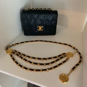 Chanel vintage gold chain belt